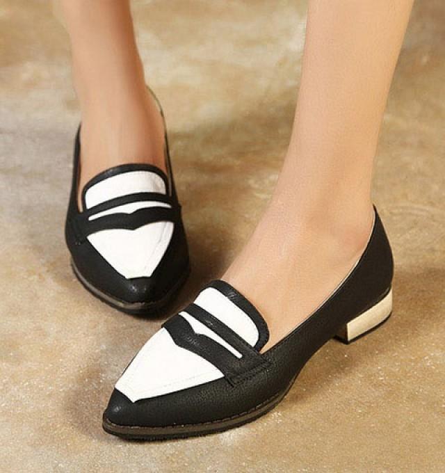 wedding photo - Fashion Style Low Heels Shoes Flat Black FT0094