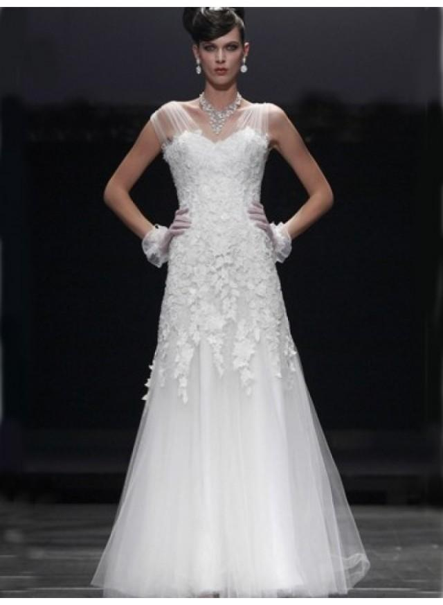 A Line Sweetheart Lace Floor Length Tulle Wedding Dresses WE4049 2114947