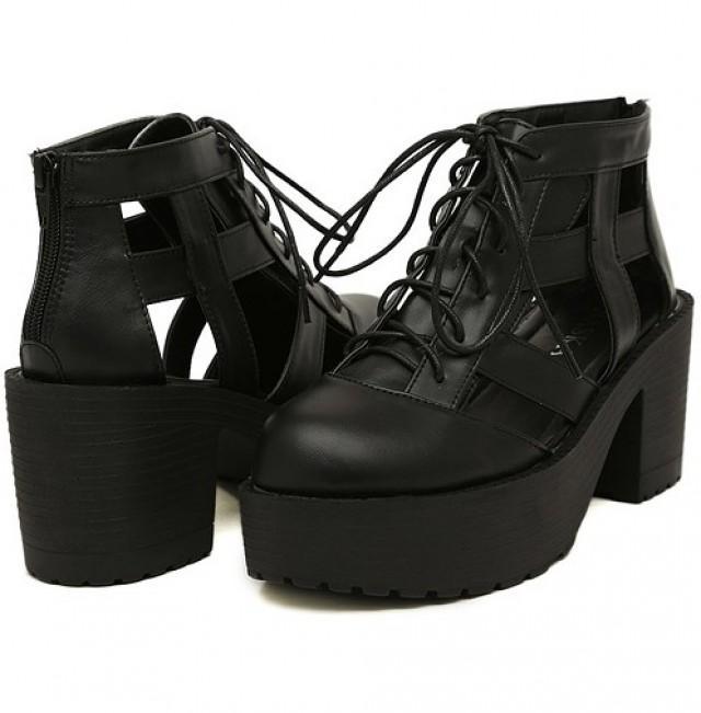 wedding photo - Western Style Denim Platform Heels Black Black W0050