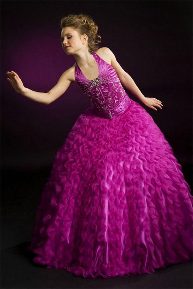 wedding photo - A line Halter Beading Organza Floor Length Girl Violet Pageant Dress