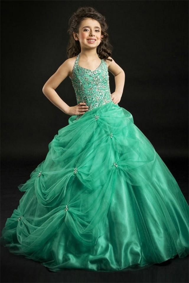 wedding photo - A line Halter Beading Bodice Green Soft Tulle Skirt Girl Pageant Dress