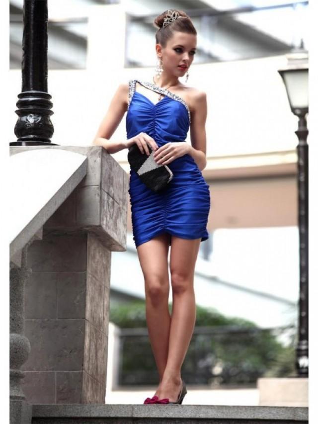wedding photo - Sheath/Column Sleeveless One-shoulder Short Mini Style Elastic Woven Satin Dress