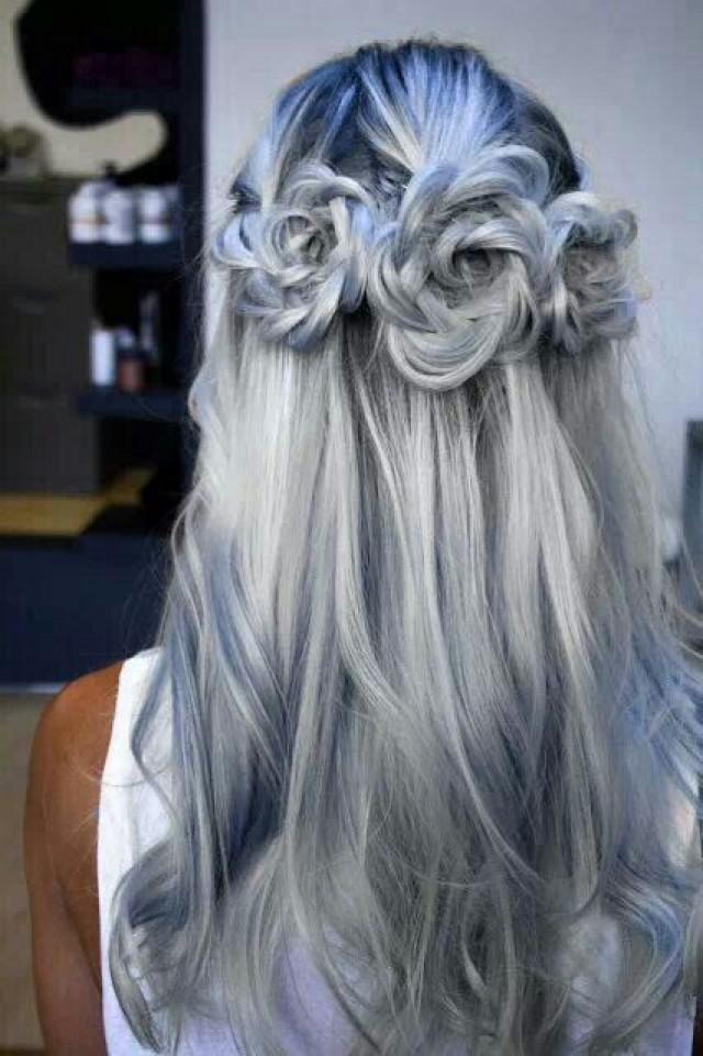 Braided Hair Model White Hair Color Braided Roses 2116967 Weddbook