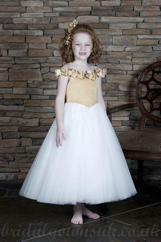wedding photo - Off Shoulder Flower Trimed Satin And Tulle A Line Princess Girls Formal Dresses
