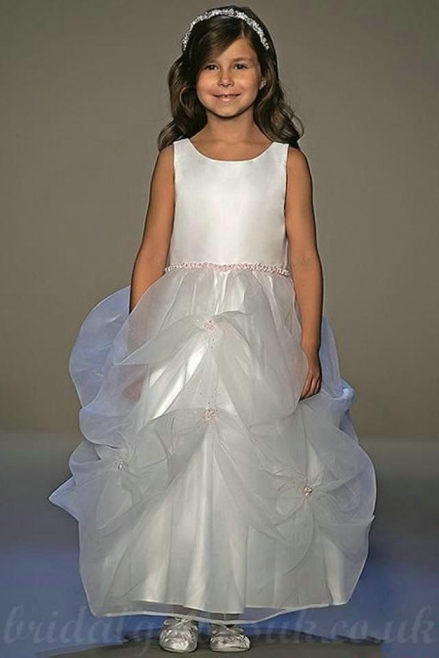 wedding photo - Organza And Satin Bow Back Bateau Perfect Customized Flower Girls Dress