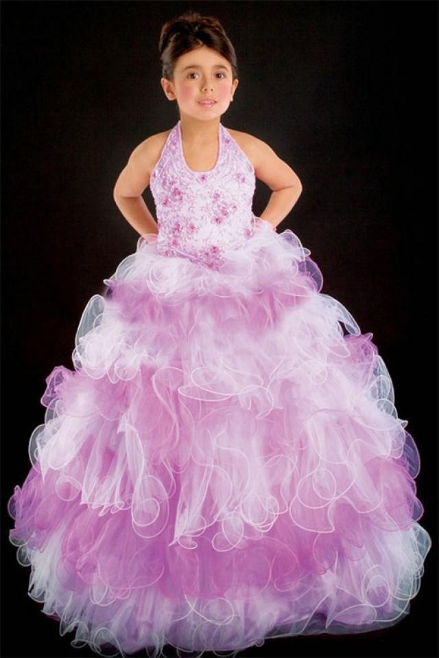 wedding photo - Halter Organza Beading Floor Length Color Block Pageant Dress