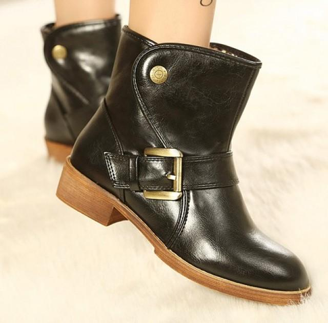 wedding photo - Korean Style Preppy Thick Heel Shoes Flat Boot Black BT0595