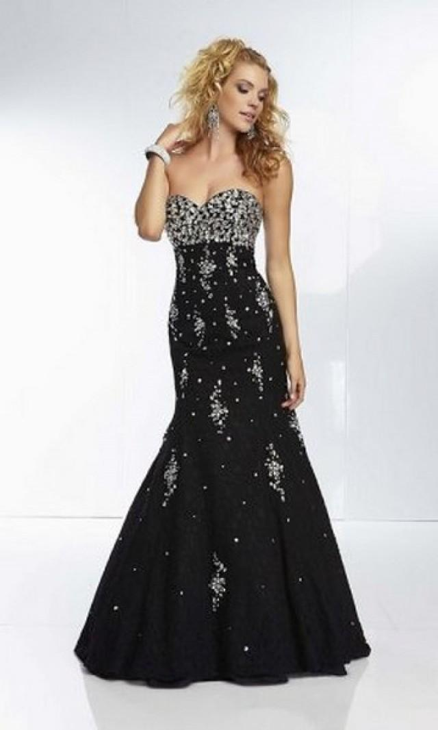wedding photo - 2014 Black Sequins Mermaid Lace Evening Dresses