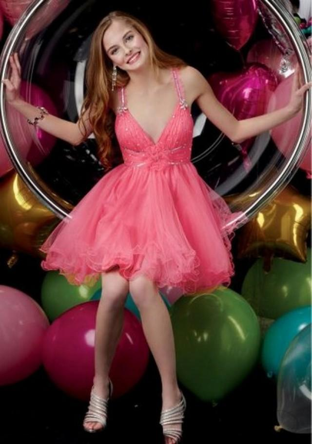 wedding photo - Candy Pink Sequin Pleated V Neck Homecoming Dress