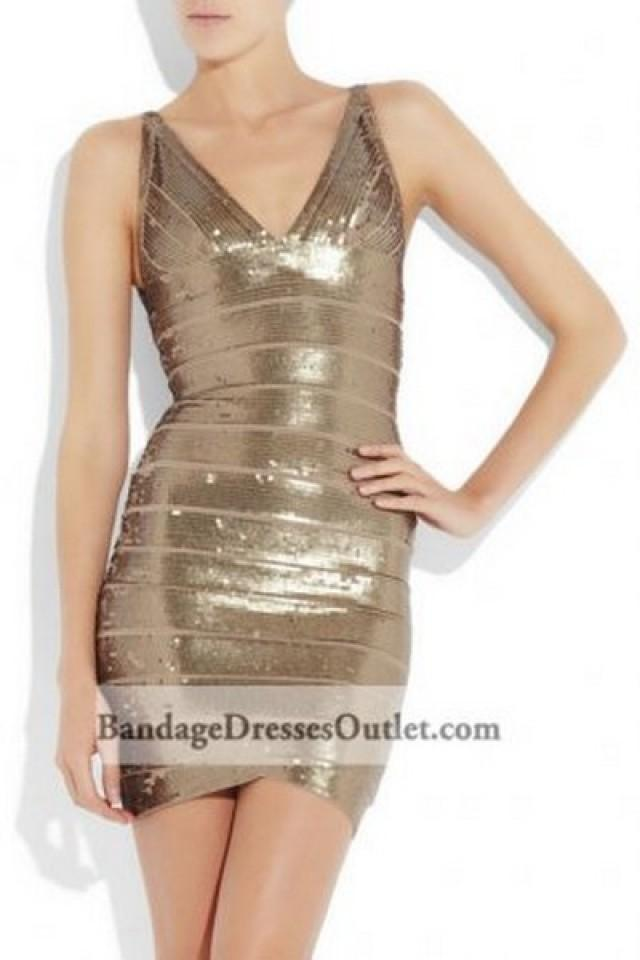 wedding photo - Sleeveless V Neck Sequin Bandage Dress Antique Gold Cheap