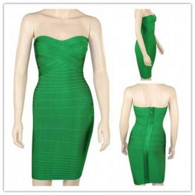 wedding photo - Latest Girls Green Evening Dresses Strapless Bodycon Dress