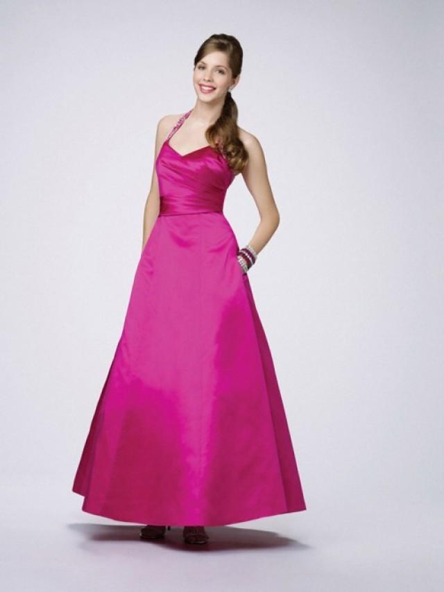 wedding photo - A-line Halter Elastic Woven Satin Ankle-length Sleeveless Dress