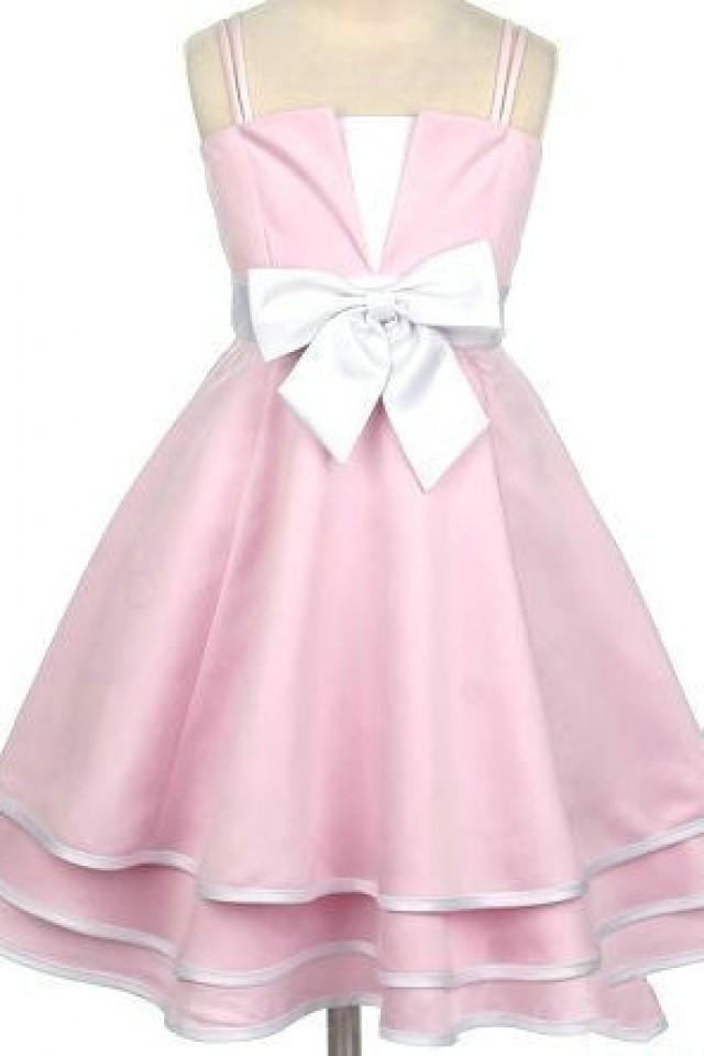 Satin spaghetti bow matching a line princess girls formal for Matching wedding and flower girl dresses