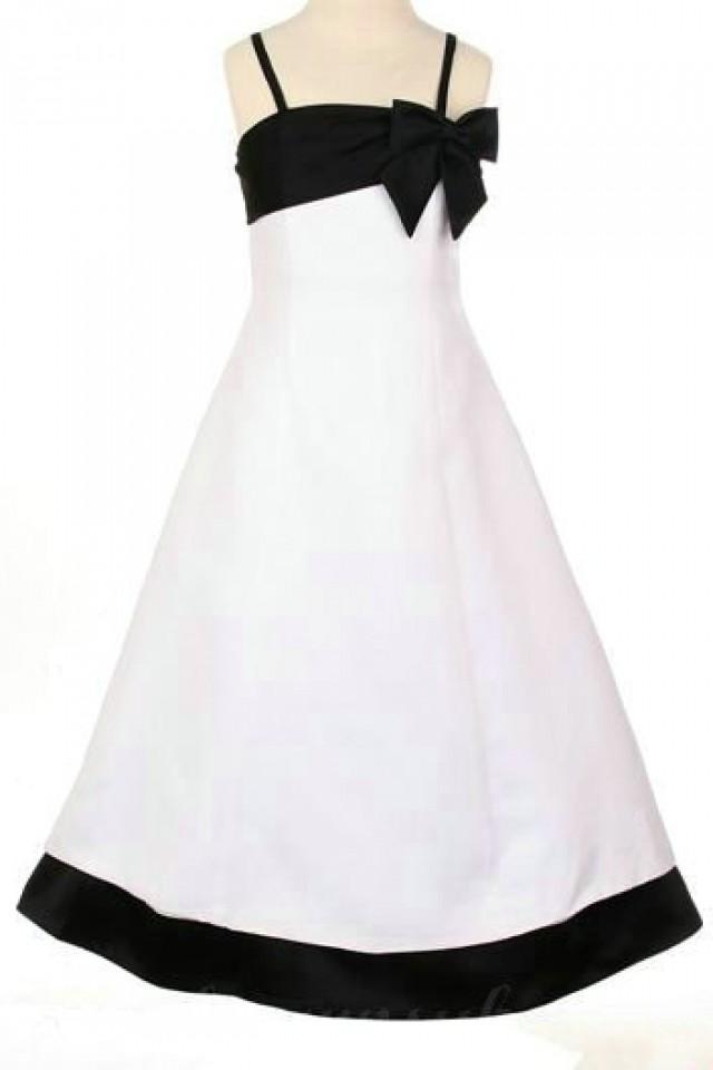 wedding photo - Spaghetti Satin A Line Bow Elegant Inexpensive Girls Formal Dresses, Flower Girl Dresses - 58weddingdress.com