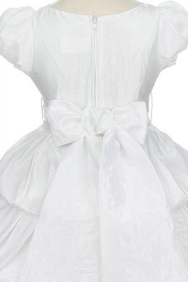wedding photo - Satin Layer Ball Gown Short Sleeve Flower Trimed Deisgner Flower Dresses, Flower Girl Dresses - 58weddingdress.com