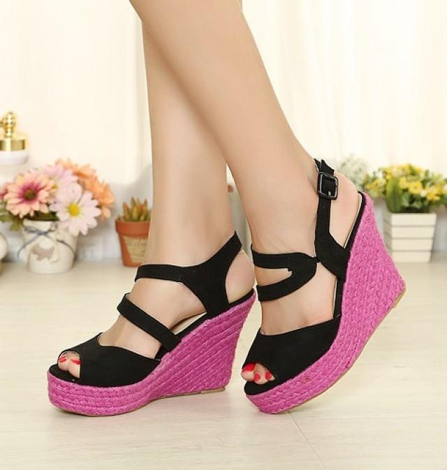wedding photo - Candy Color Bohemian Style Hollow Out Flat Shoes Black Black SD0218