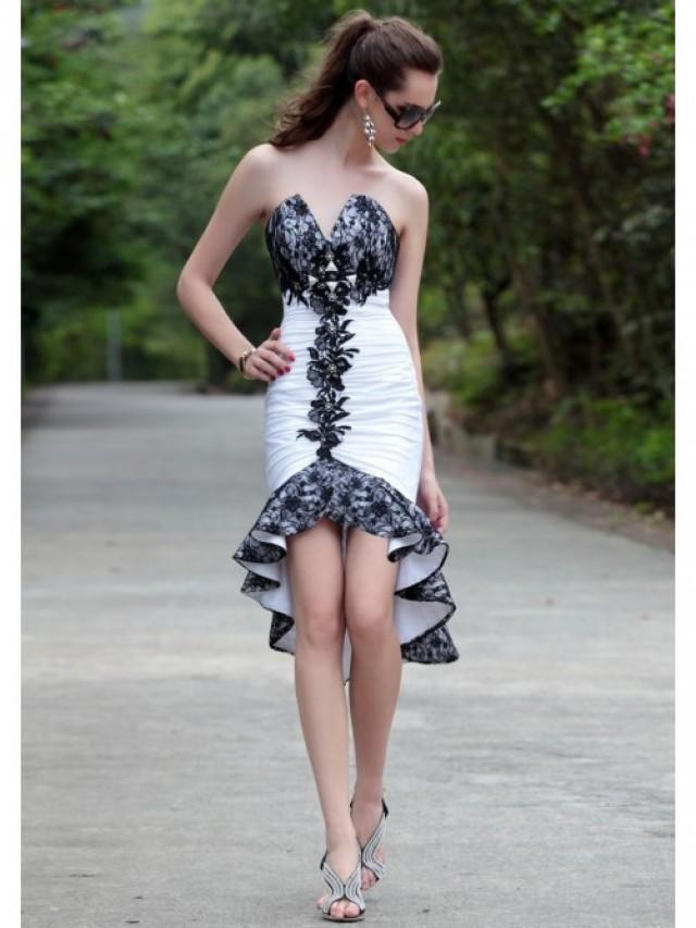 wedding photo - Asymmetrical Sleeveless V-neck Taffeta Lace Prom Dress