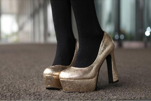 wedding photo - Sexy Style Fish Mouth High Heels Shining Pumps Silver PM0603