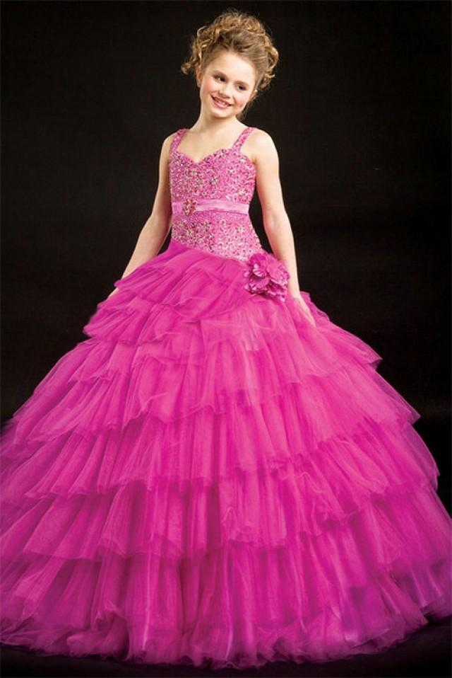 wedding photo - Sweetheart Satin Waistband Violet Organza Girl Pageant Dress, Flower Girl Dresses - 58weddingdress.com