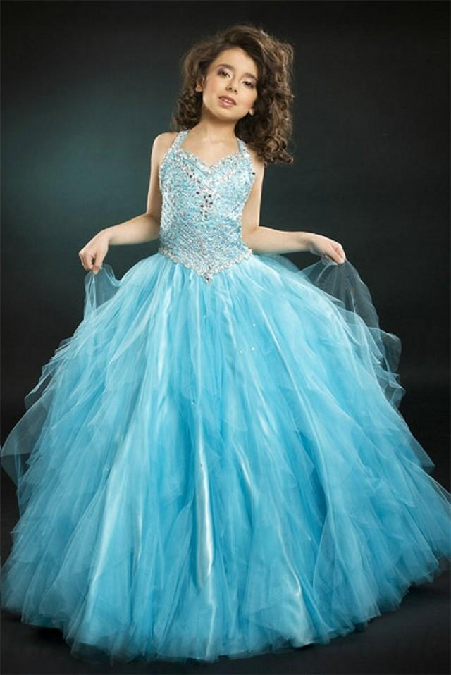wedding photo - Halter Beading Tulle Satin Girl Baby Blue Pageant Dress, Flower Girl Dresses - 58weddingdress.com
