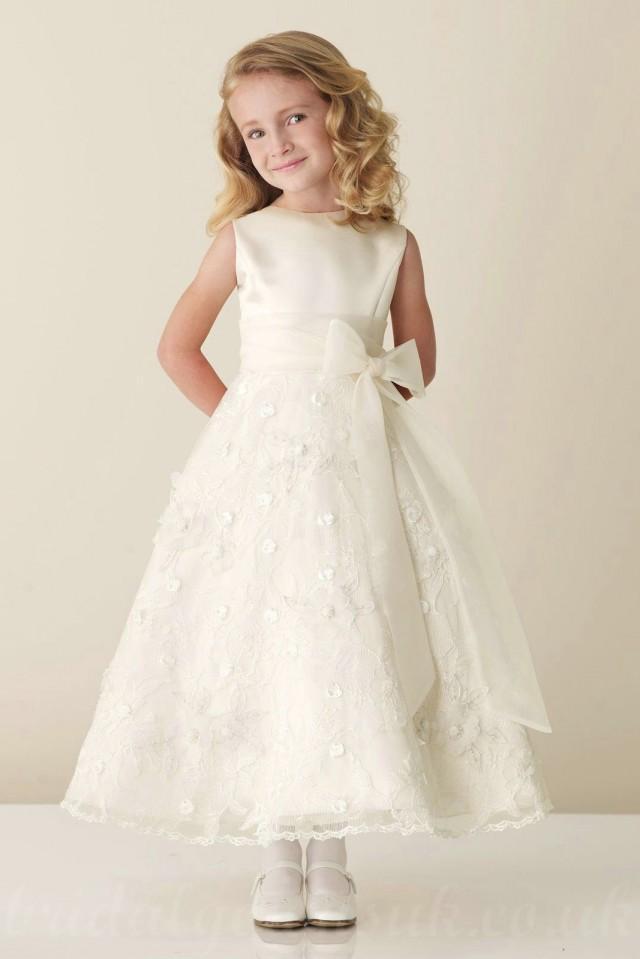 wedding photo - Satin Bateau A Line Bow Sash Inexpensive Perfect Flower Junior Bridesmaid Dress, Flower Girl Dresses - 58weddingdress.com