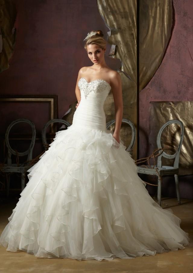 wedding photo - Wanweier - satin wedding dresses, Hot Crystal Beaded Ruffled Organza Online Sales in 58weddingdress