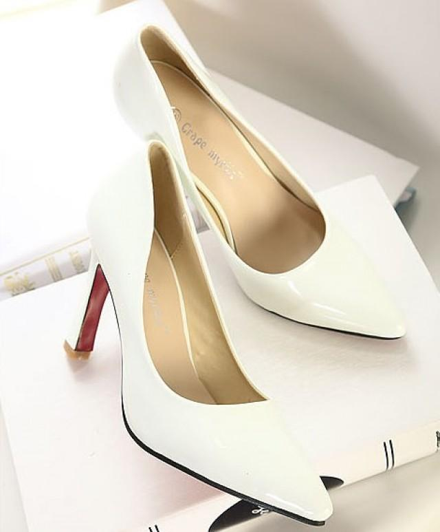 wedding photo - Hot Sale Style Color Block Thin Heels High Heel Pumps Black Black PM0249