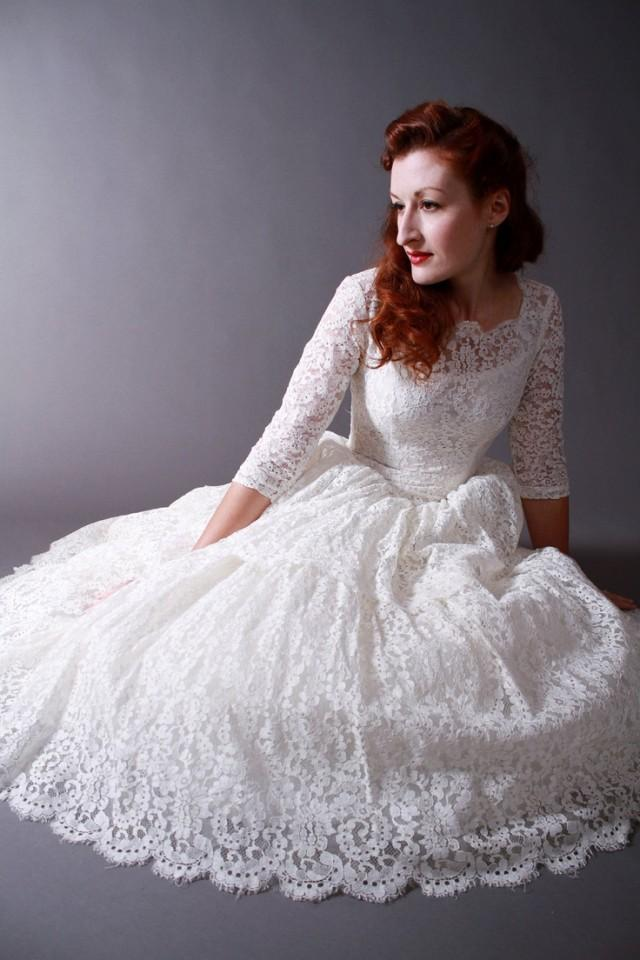 Vintage 1950s tea length new look wedding dress of for Retro tea length wedding dresses