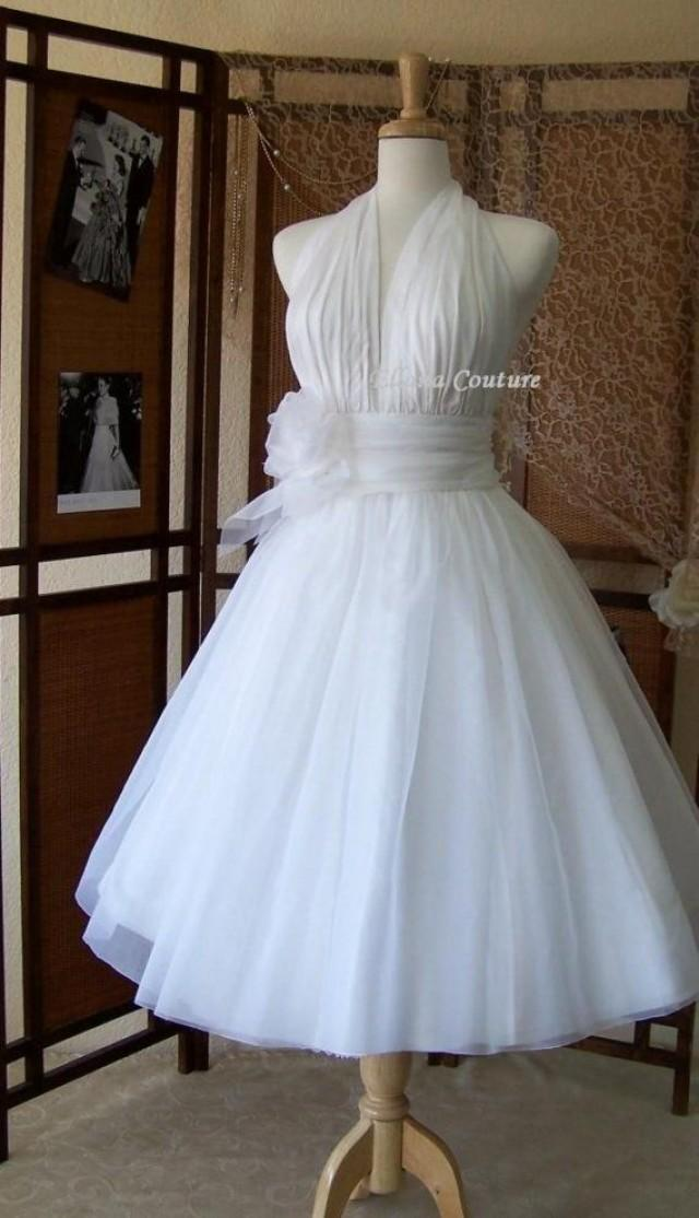 Retro Inspired Tea Length Wedding Dress Vintage Style Bridal Gown SILK Organza 2126190