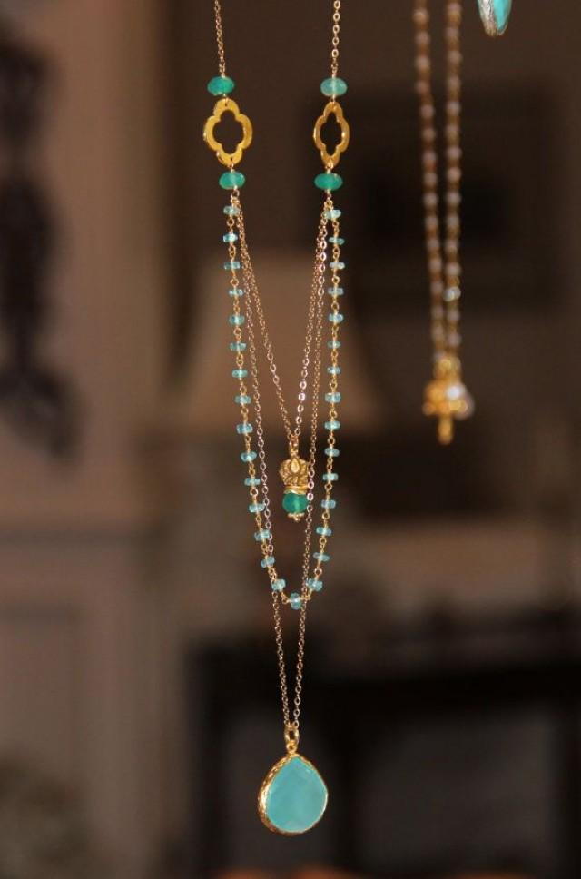long multi layer necklace wire wrapped apatite w pantone. Black Bedroom Furniture Sets. Home Design Ideas