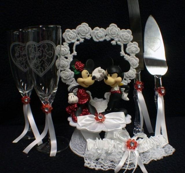 Mickey & Minnie Mouse Wedding Cake Topper LOT Glasses ...