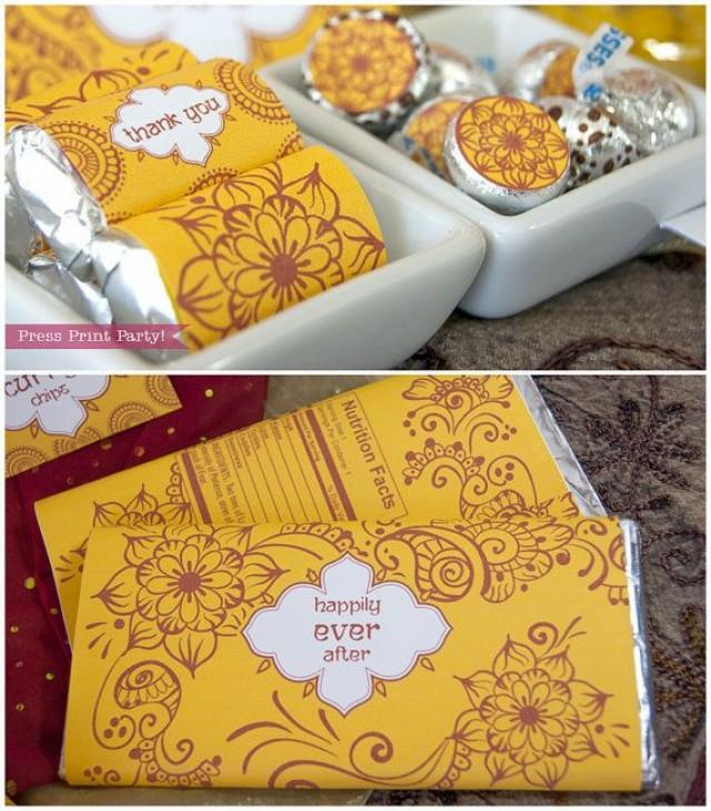Mehndi Party Bags : Indian red and yellow party printables wedding henna