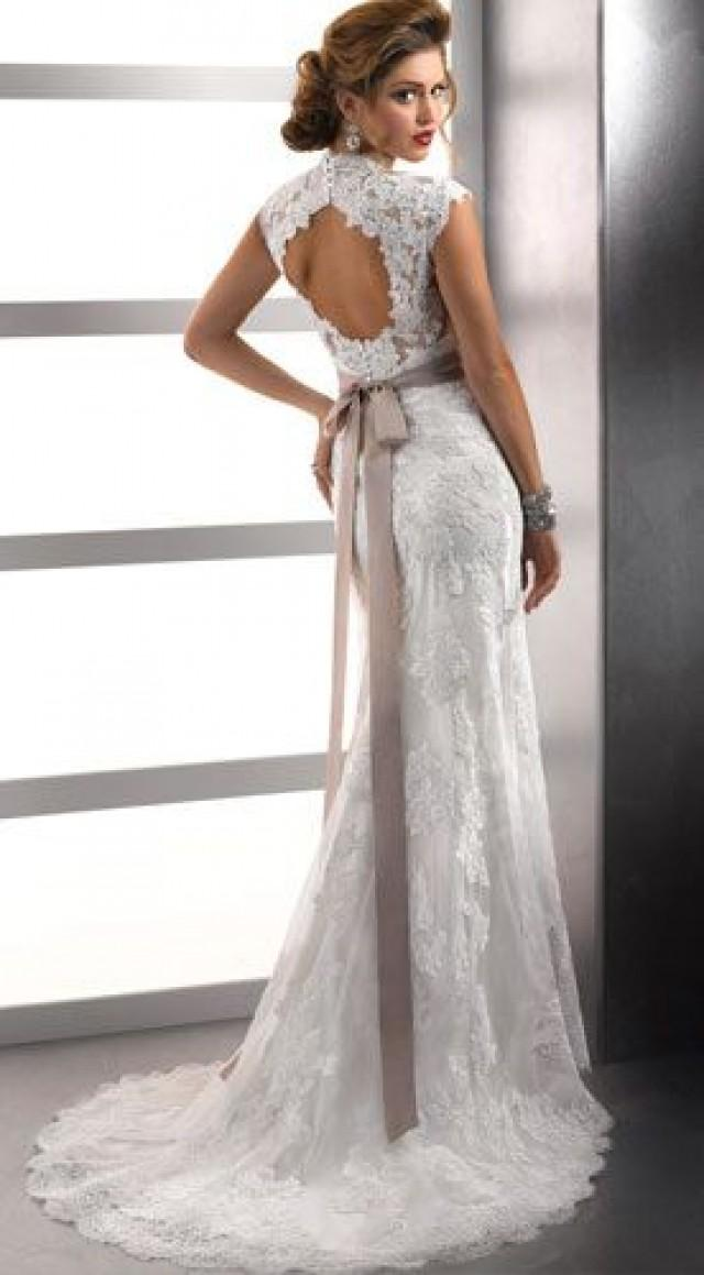 Cap sleeve sheath popular tulle and lace sweetheart sexy for Lace sleeve backless wedding dress