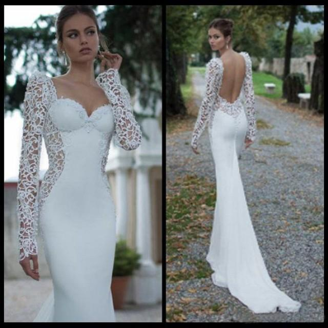 Long sleeve lace backless sweetheart mermaid wedding dress for Long sleeve white lace wedding dress
