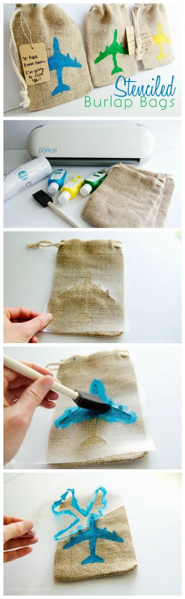 DIY - Easy Stenciled Burlap Bags #2132049 - Weddbook