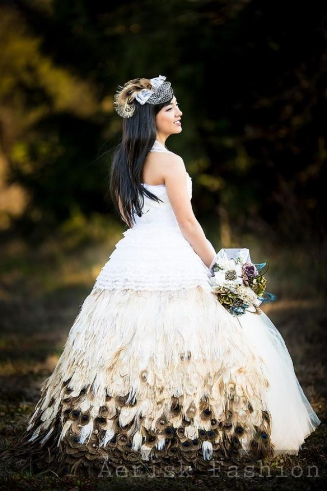 ivory peacock feather wedding gown skirt handmade