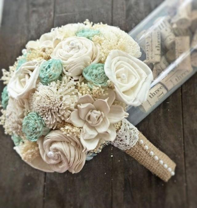 natural wedding bouquet small ivory mint bridal bridesmaid bouquet