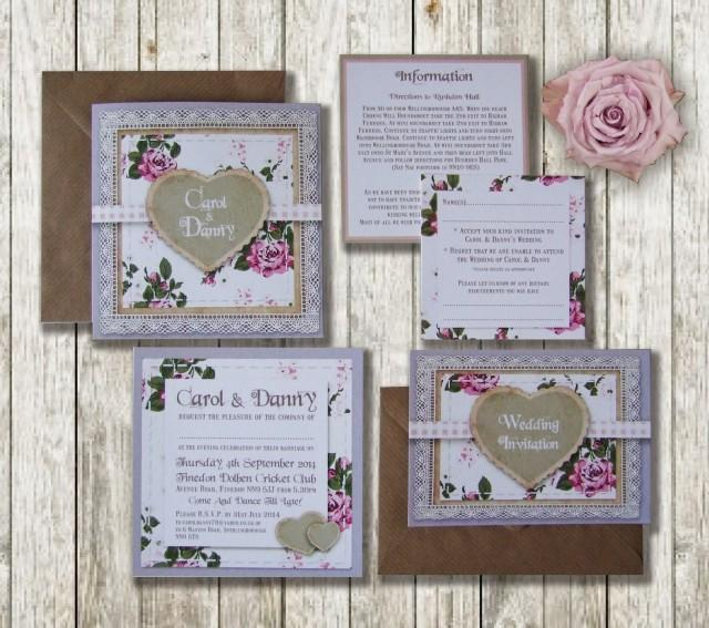 Knots And Kisses Wedding Stationery: Lilac & Pink Vintage