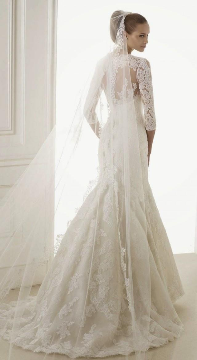 Long sleeved 3 4 length sleeve wedding gown inspiration for T length wedding dresses