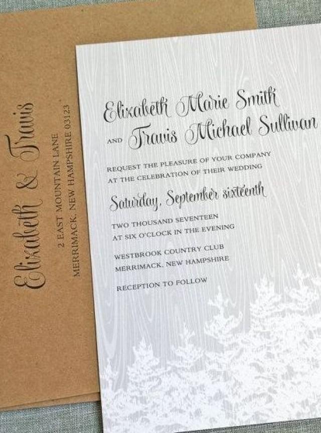 Nature Themed Wedding Invitations NEW Elizabeth Gray Woodgrain Wedding Invitation Sample
