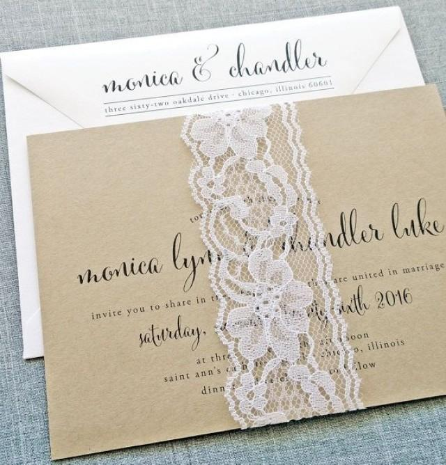 monica calligraphy script recycled kraft wedding With lace belly band for wedding invitations