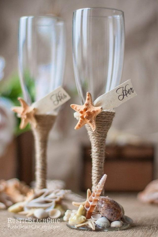 wedding photo - BEACH Champagne Flutes / Bride And Groom Wedding Glasses With Rope, Starfish, Shells