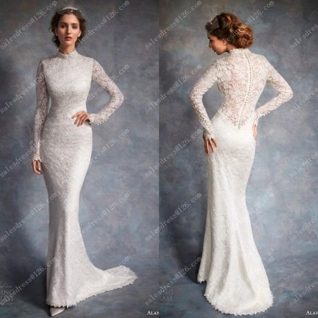 Кружевное свадебное платье с длинными рукавами купить