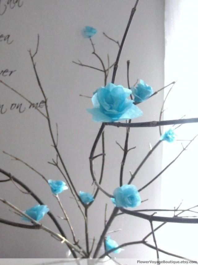 Rustic blue big centerpiece sky mist with tree branches - Deco avec des branches d arbres ...