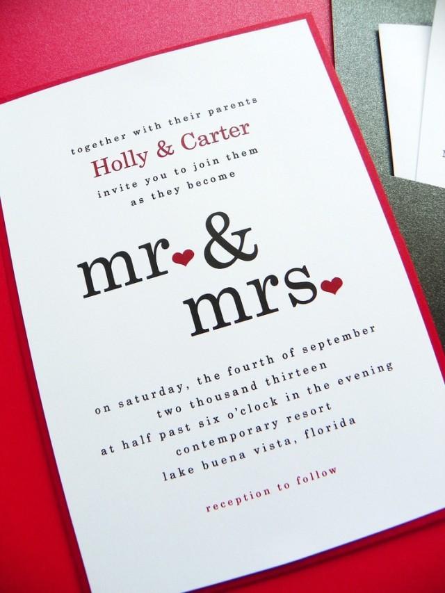 hochzeits-einladung - mr & mrs pocket-karten-hochzeits-einladung, Einladung