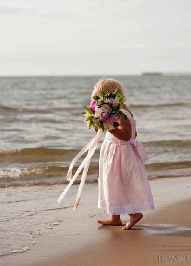 Beach weddings pink linen flower girl dress handmade for Flower girl dress for beach wedding