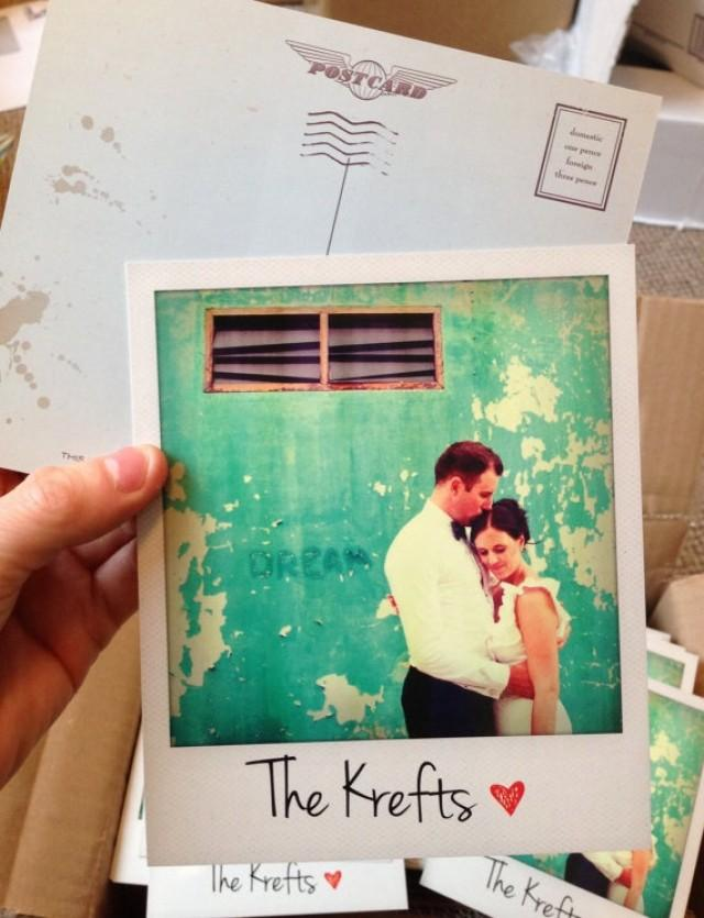 Personalised polaroid wedding thank you cards - Polaroid karten ...