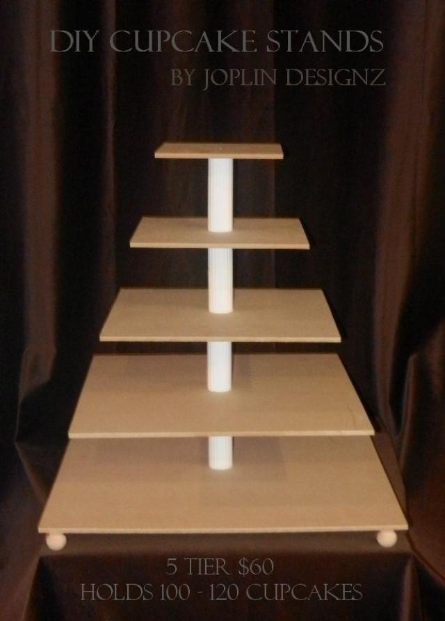 Diy large 5 tier cupcake stand cake stand tower custom for How to build a tower stand