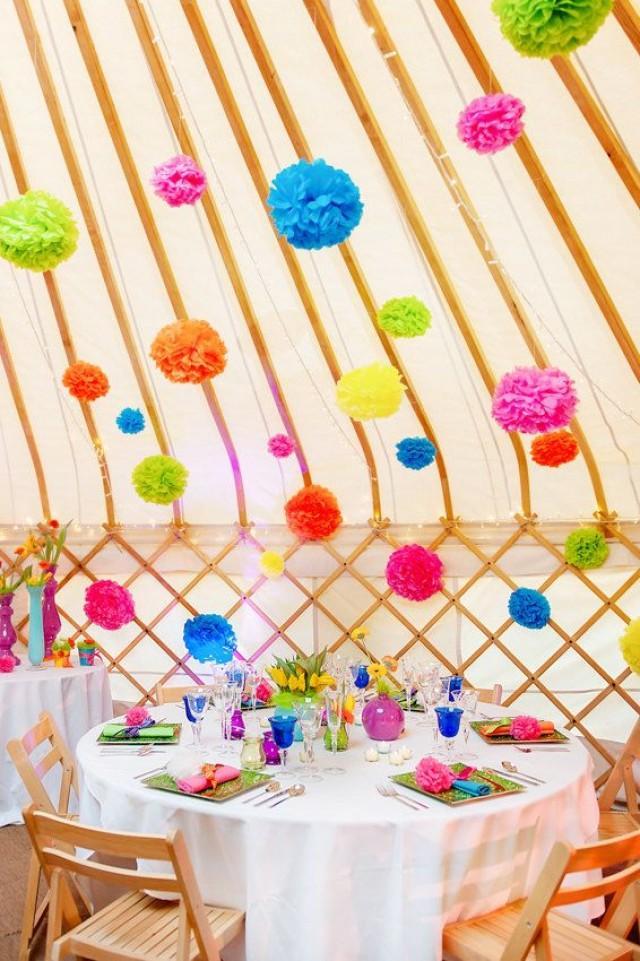 10 x large handgefertigte seidenpapier pom poms wahl der farben hochzeiten garten parties - Garden decor stores ...