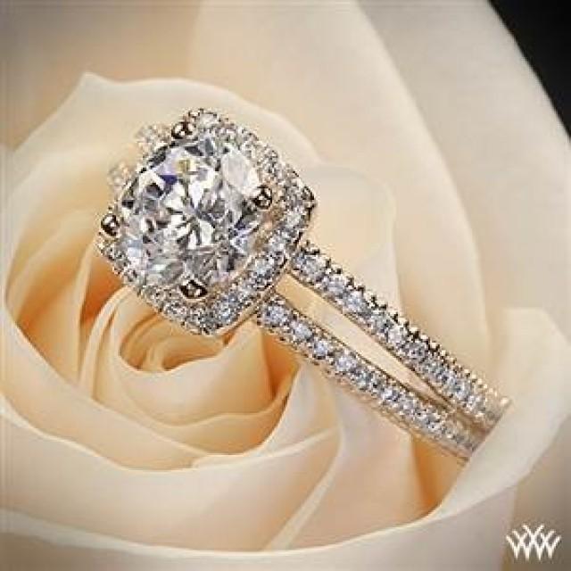 20k Rose Gold Verragio Split Shank Pave Diamond Engagement Ring We